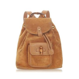 Gucci Vintage Tan Bamboo Suede Backpack