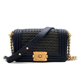 Chanel Navy & Gold Woven Leather Small Boy Bag