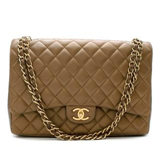 Chanel Olive Lambskin Maxi Double Flap Bag