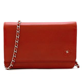 Chanel Red Leather CC Camellia Wallet on Chain