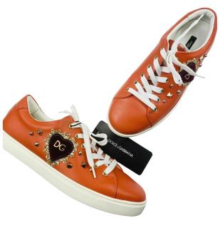 Dolce & Gabbana Orange Leather Amore Sneakers