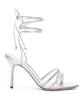 Manolo Blahnik Silver Leva 105 Lace-Up Sandals