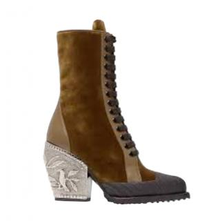 Chloe Velvet Baroque Lace Up Rylee Boots