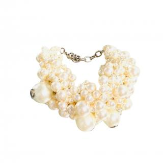 Chanel Faux Pearl Ivory Cluster Necklace