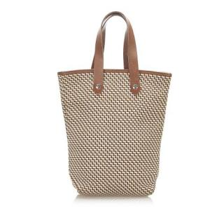 Hermes Canvas Leather Trimmed Tote Bag