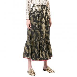 Gucci Black & Gold Lizard Jacquard Midi Skirt