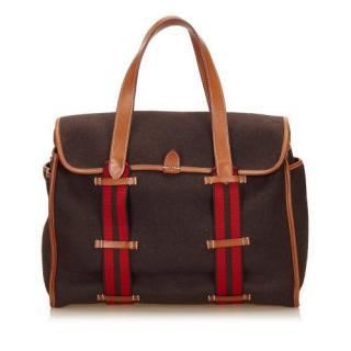 Hermes Brown Leather Trimmed Shoulder bag