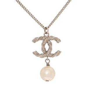 Chanel Crystal CC Faux Pearl Necklace