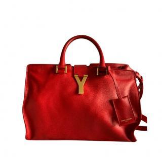 Saint Laurent Red Chyc Cabas Tote Bag