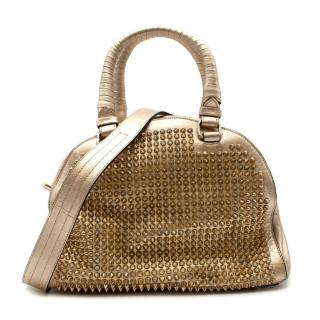 Christian Louboutin Gold Panettone Spiked bowling bag