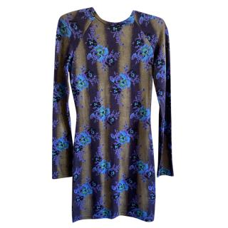 Christopher Kane Blue Floral Print Fitted Dress