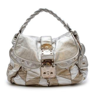 Miu Miu Silver & Gold Leather Patchwork Shoulder Bag