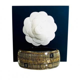 Chanel Paris/Dubai Gold & Black Plexi Cuff