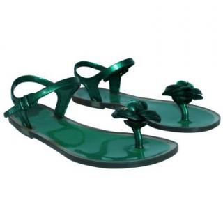 Chanel Green Camellia Toe Post Flat Sandals