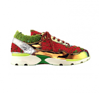 Chanel Gold, Red & Green Tweed CC Sneakers