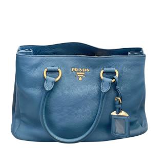 Prada Blue Grained Leather Tote Bag