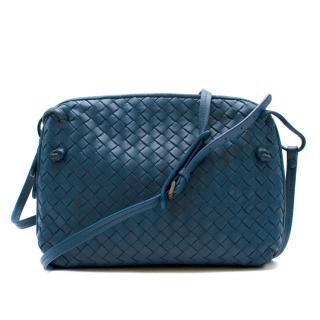 Bottega Veneta Blue Leather Intrecciato Nodini Bag