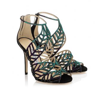 Jimmy Choo Crystal Embellished Suede Kallai Leaf Sandals