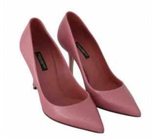 Dolce & Gabbana Pink Embossed Leather Pumps
