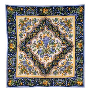 Loewe Blue & Yellow Floral Vintage Silk Scarf 90