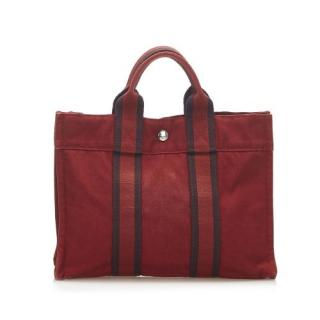 Hermes Red Canvas Fourre Tout PM