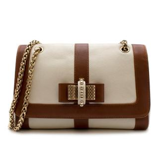 Christian Louboutin Beige & Brown Leather Sweet Charity Shoulder Bag
