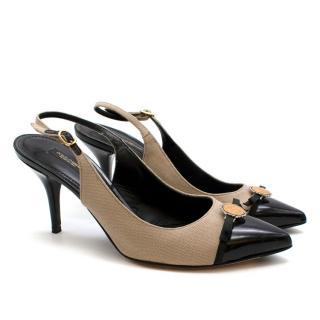 Dolce & Gabbana Beige Canvas & Leather Slingback Pumps