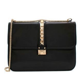 Valentino Black Leather Large Glam Lock Rockstud Shoulder Bag