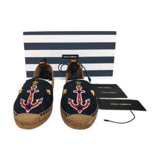 Dolce & Gabbana Embroidered Denim Espadrille Sandals