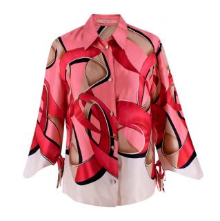 Valentino Pink & Red Printed Silk Shirt