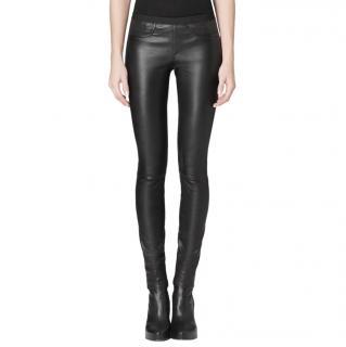 Helmut Lang Black Stretch Leather Leggings