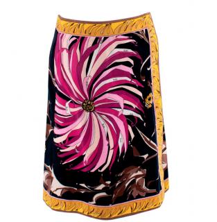 Emilio Pucci Black & Pink Print Cotton Velvet Wrap Effect Skirt