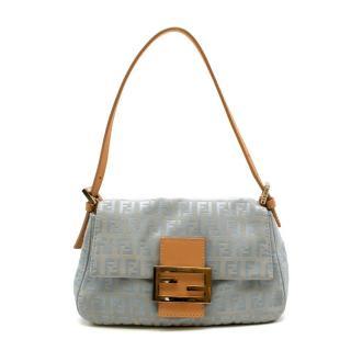 Fendi Blue FF Monogram Canvas Vintage Shoulder Bag