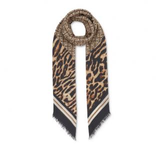 Burberry Monogram Leopard Print Wool & Silk Scarf In Beige