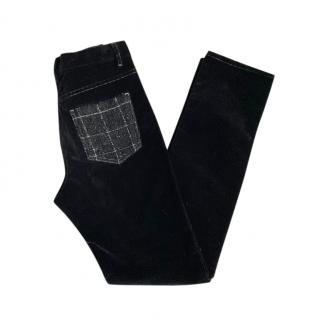 Chanel Black Corduroy Jeans with Tweed Patch Pockets