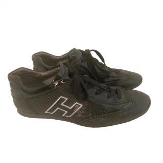 Hogan Black Textured Patent Sneakers