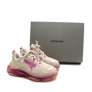 Balenciaga Triple S Clear Sole White&Pink Sneakers