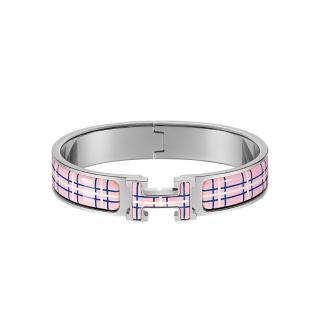 Hermes Pink Delirium Clic H Tartan bracelet