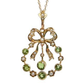 Bespoke Victorian Yellow Gold Seed Pearl & Peridot Pendant