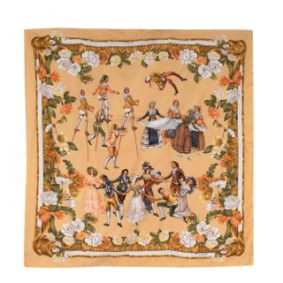 Loewe Yellow Floral 'Cartones de Goya' Vintage Silk Scarf 90