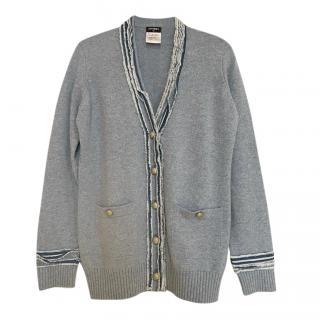 Chanel Grey Cashmere Knit Cardigan