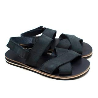 Bonpoint Navy Suede Velcro Sandals