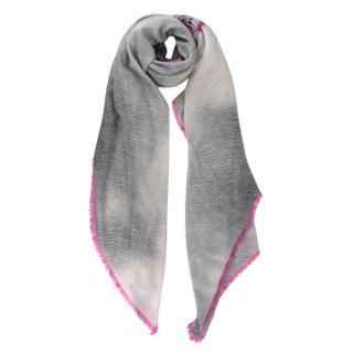 Louis Vuitton Grey & Pink Graffiti LV Wool Stole