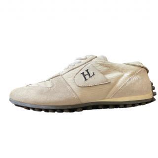 Helmut Lang Cream Suede & Canvas Sneakers