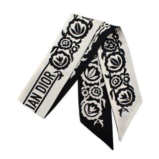Christian Dior Black & White Silk Mitzah Scarf
