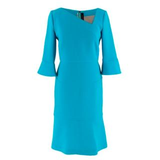 Roland Mouret Blue Crepe Asymmetric Dress