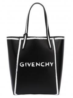 Givenchy Black & White Leather Logo Shoulder Bag
