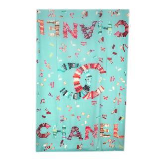 Chanel Turquoise CC Labels Print Cashmere Pareo/Stole