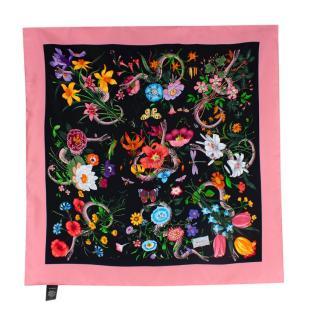 Gucci Flora Snake Print Silk Scarf 90