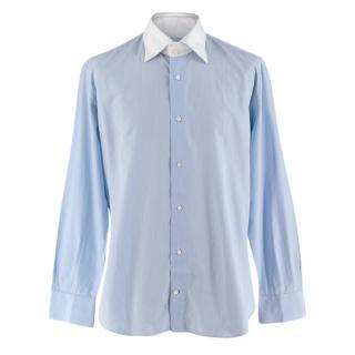 Simone Abbarchi Light Blue Striped Cotton Long Sleeve Shirt